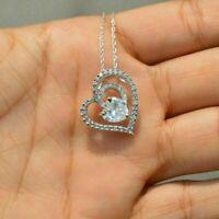"2Ct Heart Shape Diamond Women's Pendant Necklace 18"" Chain 14k White Gold Finish"