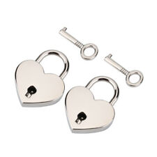 2Pcs Silver Metal Heart Shape Padlock Luggage Luggage Bags Lock With Key Mini IS