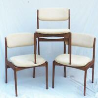 Benny Linden Danish MCM Mid Century Modern Style Teak Set of 3 Chairs