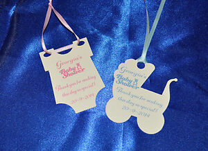 30 personalised baby shower thank you tags hand made diecut 2 designs