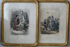 Paire de gravures couleurs romantiques par Forget encadrées