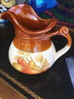 McCoy USA Pottery Pitcher 7515 Brown Cream Fruit Pattern, No Chips/Or Cracks