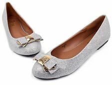 BELINDA Blink Synthetic Bow Slip On Casual Women Flats Office Shoes Silver 7.5