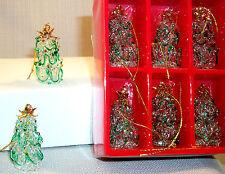 Green Tree SPUN ARTGLASS Hanging Xmas Ornament 6 pcs. BOX LOT