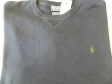 NEW RALPH LAUREN POLO CREWNECK COTTON SWEATER  BLUE WITH PONY 2XL/2XB BIG 2X