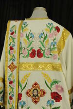 Orthodox Deacon Vestment Embroidered Flowers 100% Linen
