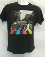 Official Beatles Abbey Road Mens Large Reproduction Black Cotton T-Shirt SHRUNK