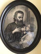 Antica stampa di San Giuseppe con Gesu Fanciullo