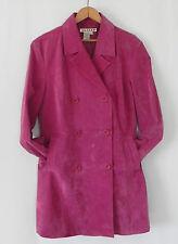 AMI Leather Coat Fuchsia/Pink  Peacoat Size M Double Breasted