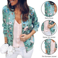 Fashion Women Floral Zipper Bomber Jacket Baseball Casual Coat Outwear Plus Size