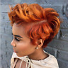 Ombre Black Orange Short Wavy Style Synthetic Afro Wigs Hair For Women With Bang