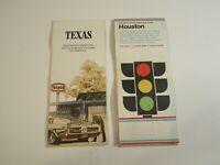 Lot of 2 Vintage Gousha Houston & Texaco Texas Gas Station Travel Road Maps