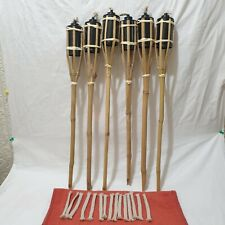 6 x Bamboo Tiki Torches  60CM Garden Outdoor Party Torch Light Plus  spare wicks