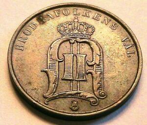 1877 Sweden 2 Ore XF Choice Extra Fine Original Swedish Oscar Two Ore World Coin