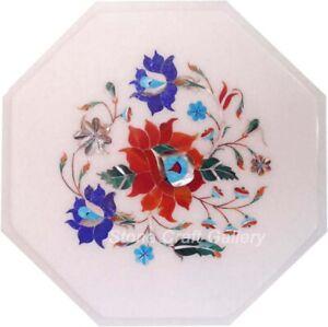 "12"" Marble Table Top Inlay Floral semi precious stones Handmade"