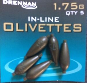 DRENNAN POLEMASTER IN LINE OLIVETTES - IN LINE WEIGHTS IDEAL FOR RIGS