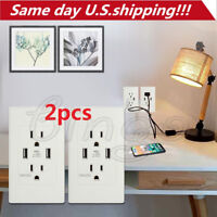 2pcs Dual USB Port Wall Socket Charger AC Power Receptacle Outlet Plate Panel US