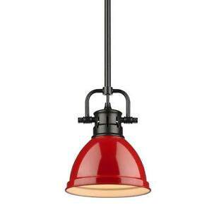 Duncan 1-Light Black Mini-Pendant and Rod with Red Shade by Golden Lighting