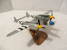 LOCKHEED P-38 LIGHTNING WOOD DISPLAY MODEL with Wood Base and Movable Propellers