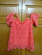 Juniors' Size Small Melon Lace Open Shoulder Top - Maurices