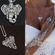 boho turquesa retro vintage elefante joyería colgante collar de plata tibetana