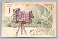 Dove Photographer w Flower Camera—Antique German Fantasy PC New Years Bird~1910s