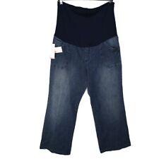 Liz Lange Size 18 Maternity Jeans Denim Blue Full Panel Straight Trouser Leg NWT