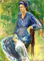 """Russischer Realist Expressionist Öl Leinwand """"Frau im blauen Kleid"""" 79 x 57 cm"""