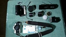 MINOLTA XG-M 35MM SLR CAMERA W 2 Lenses MD 50mm 85-205 Zoom, Motor Drive, Flash