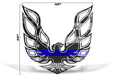 "42"" X 42"" Firebird Hood Graphic Decal Sticker For Pontiac Trans Am BLUE LINE"