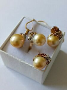 14Kt Gold South Sea Pearls and Diamonds Jewelry Set