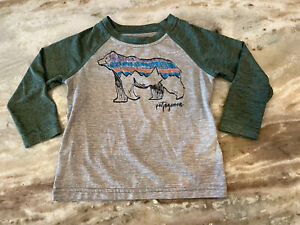 Patagonia Capilene Shirt Gray And Green toddler Boy Size 18-24 months