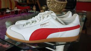 Puma Schuhe Top Winner 45 Weiss/ Rot Oldschool!