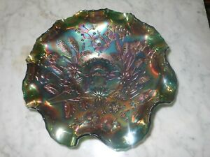 Carnival Glass Bowl - Good Luck Horseshoe - Amethyst green 8.5 inch 22cm