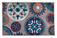 Circles and Flowers Door Mat Slip Skid Resistant Rubber Back 2' x 3' Gray Rugs