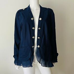 Chico's 2 L jacket Military Romantic Navy Ruffle Chiffon Trim Crested Buttons