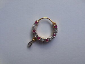 White with Pink Crystal Nose Ring Pierced Nath Indian Wedding Nose Hoop Jewelry