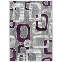 L'Baiet Emberly Ring Grey/Purple Geometric 5' x 7' Area Rug