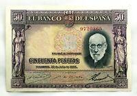 Spain-Billete. Santiago Ramón y Cajal. 50 Pesetas 1935. Madrid. Sin serie. EBC+