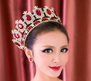 """6.7"""" Wide Large Ruby Red Crystal Gold Queen Crown Wedding Prom Party Pageant"""
