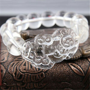1pc Natural White Feng Shui Crystal Pi Yao Pi Xiu Bracelet Wealth Fortune Amulet