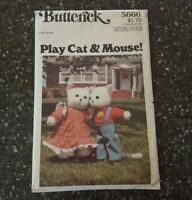 Butterick 5666 Play Cat & Mouse Stuffed Animal Sewing Pattern CUT / As Is
