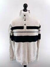 CHAPS RALPH LAUREN Mens Jumper Sweater XL White Black Stripes Cotton 1/4 Zip