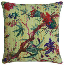 """Indian Cushion Cover Kantha Stitch Abstract Pattern Throw Ethnic Pillow Case 16"""""""