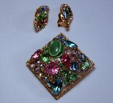 Vintage WEISS Pastel Tutti Frutti Rhinestone Poured Glass Brooch & Clip Earrings