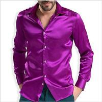 Fashion Shiny Silky Satin Dress Shirt Luxury Silk Like Mens Casual Shirts S-4XL