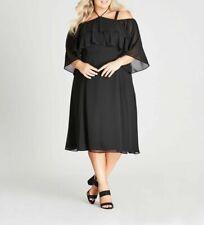 Autograph Off the Shoulder BLACK flowing short sleeve midi dress size 14 lined