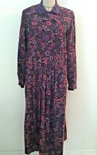Laura Ashley Women Dress Vintage Purple Corduroy Floral Print Maxi Size 10 12