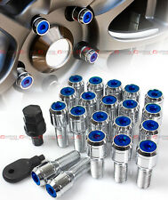 20 Pcs M14 X 1.5 Chrome Wheel Lug Nut Bolts W/ Blue Lock Caps+Key+Socket For VW