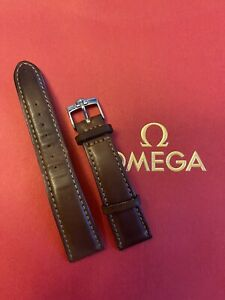 Auth. Omega STZ006410 Steel Watch 16mm Tang Buckle w/ 20mm Brown Leather Strap